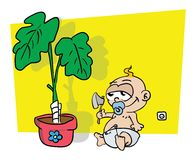 Little baby getting ready to cut down plant Stock Photo