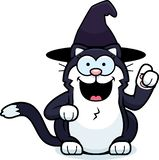 Cartoon Little Witch Cat Idea royalty free stock photo