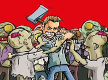 Blaze of glory. Cartoon illustration of a lone man make a last stand against a horde of evil undead zombies Stock Image