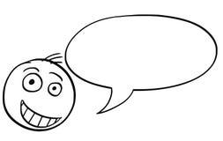 Cartoon Illustration of Male Man Head with Empty Speech Bubble Stock Image