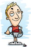 Confident Cartoon Badminton Player. A cartoon illustration of a man badminton player looking confident royalty free illustration
