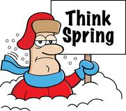 Cartoon man buried in snow holding a Think Spring sign. Royalty Free Stock Image