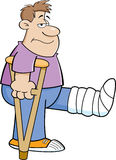 Cartoon man on crutches. Cartoon illustration of a man on crutches with his leg in a cast Royalty Free Stock Photos