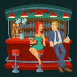 Cartoon illustration of man meets a woman in bar Royalty Free Stock Photography