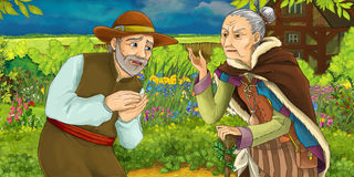 Cartoon illustration of a man talking with an old woman in a herb garden Royalty Free Stock Photos
