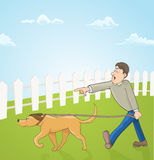 Cartoon illustration with man teaching his dog. Vector Royalty Free Stock Image