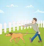 Cartoon illustration with man teaching his dog Royalty Free Stock Image