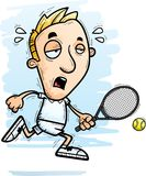 Exhausted Cartoon Tennis Player. A cartoon illustration of a man tennis player running and looking exhausted vector illustration