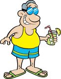 Cartoon man wearing a swimsuit and holding a drink. Royalty Free Stock Photo