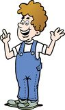 Cartoon illustration of a man who is dressed in a pair of blue overalls. Cartoon illustration of a happy man who is dressed in a pair of blue overalls Royalty Free Stock Photos