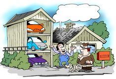 Cartoon illustration of a man who have built the garage specifically for all his cars. Cartoon illustration of a man who have built the garage specifically for Stock Image