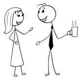 Cartoon Illustration of Man and Woman Business People Talking   Stock Photos