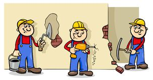 Manual workers or builders characters group. Cartoon Illustration of Manual Workers or Builders Characters at Work vector illustration