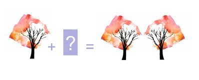 Cartoon illustration of mathematical addition. Example with trees Stock Photos