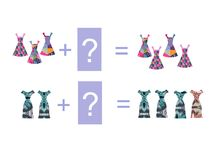 Cartoon illustration of mathematical addition. Examples with dresses Stock Image