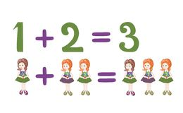Cartoon illustration of mathematical addition and subtraction. Examples with cute little girls. Stock Photos