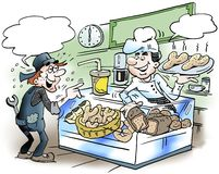 Cartoon illustration of a mechanic there buy bread Royalty Free Stock Photography