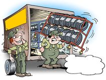 Cartoon illustration of a mechanic there are lifting a rack for tires Stock Images