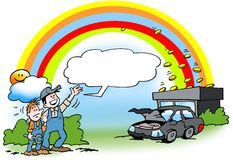 Cartoon illustration of a mechanic there see gold at the end of the rainbow Stock Photos