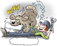 Cartoon illustration of A mechanic who get the newspaper delivered by his dog Stock Image