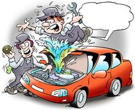 Cartoon illustration of a mechanic who has taken a cover so that the coolant is spraying out. Cartoon illustration of a mechanic who has taken cover so that the Stock Photography