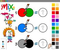 Mix colors educational cartoon game. Cartoon Illustration of Mixing Colors Educational Game for Children with Funny Clown Characters Stock Photography