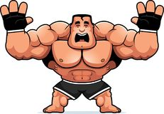 Cartoon MMA Fighter Scared. A cartoon illustration of an MMA fighter looking scared Royalty Free Stock Photography
