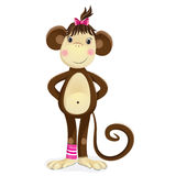 Cartoon illustration of monkey female. He monkey, a symbol of the new 2016 year. Cartoon vector illustration of cute girl monkey with a pink bow on her head Royalty Free Stock Photography