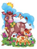 Funny big cow and baby calf artistic illustration. Cartoon illustration of the mother cow and little calf at the flowery green grass meadow vector illustration