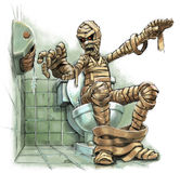 Cartoon Illustration of a Mummy on a Toilet with an Empty Roll. A funny cartoon illustration of a scary mummy sitting on a toilet who suddenly realizes that royalty free illustration