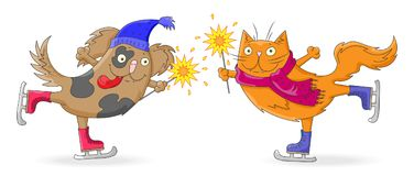 Cartoon Illustration for new year and Christmas cartoon funny cat and dog skate with sparklers in hand , isolated on white backgro Royalty Free Stock Photo