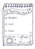Cartoon illustration of nutrition plan. Hand drawn diet plan in doodle style for breakfast, lunch and dinner. Healthy meal concept. For weight loss, calories vector illustration