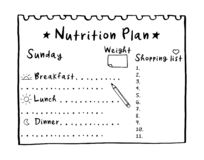 Cartoon illustration of nutrition plan, shopping list. Hand drawn diet plan for breakfast, lunch and dinner. Healthy meal concept. For weight loss, calories stock illustration