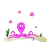 Cartoon illustration of octopus. With jellyfish Royalty Free Illustration