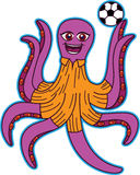 Cartoon illustration of an octopus soccer mascot Royalty Free Stock Image