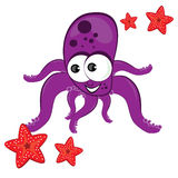 Cartoon illustration of octopus with starfish Stock Photos