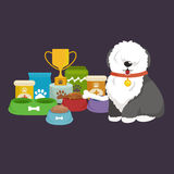 Cartoon illustration, Old English Sheepdog with food bowl, eating dog Royalty Free Stock Image