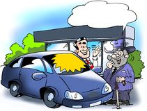 Cartoon illustration of a older man who is considering to buying a new smart car. Cartoon illustration of a older man who is considering to buying a new smart Stock Image