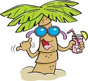 Cartoon Palm Tree Wearing Sunglasses and Holding a Drink. Royalty Free Stock Photo