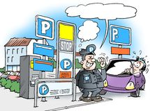 Cartoon illustration of a parking warden guard Stock Photos