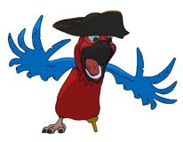 Parrot the Pirate isolated on white background cartoon illustration stock illustration