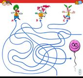 Paths maze game with clowns and balloon. Cartoon Illustration of Paths or Maze Puzzle Activity Game with Clown Characters and Funny Balloon Royalty Free Stock Image