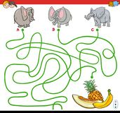 Paths maze game with elephants and fruits Stock Image