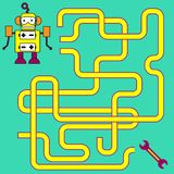 Cartoon Illustration of Paths or Maze Puzzle Activity Game. Kids learning games collection Stock Image