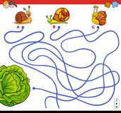 Cartoon paths maze game with snails and lettuce Royalty Free Stock Photo