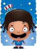 Smiling Cartoon Patriotic Girl. A cartoon illustration of a patriotic girl standing and smiling Stock Photos