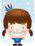 Smiling Cartoon Patriotic Girl. A cartoon illustration of a patriotic girl standing and smiling Stock Photo