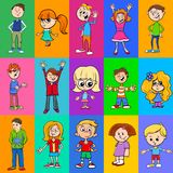 Decorative pattern design with kids characters. Cartoon Illustration of Pattern or Decorative Paper Design with Children Characters Royalty Free Stock Image