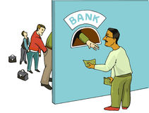 Cartoon illustration -- payment to the bank Royalty Free Stock Photo