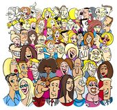 Large group of cartoon people characters Royalty Free Stock Photos